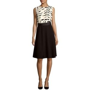 Max Mara Nervoso Abstract Print Silk Black Dress